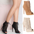 Womens Ladies high stiletto heel casual laser cut lace up zip party shoe boots