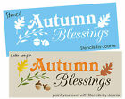 Joanie STENCIL Autumn Blessings Oak Leaves Acorns Willow Primitive Signs U Paint