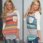 Sexy Womens Summer Casual Loose Striped Tops Long Sleeve T-Shirt Lace Blouse Top