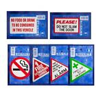 Choice of 6 Warning Stickers Labels No Smoking Fire Extinguisher First Aid Alarm