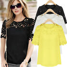 Plus Size 8-24 Womens Chiffon Lace Short Sleeve Casual T Shirt Blouse Top Summer