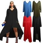 Plus Size Womens Casual Sleeve Loose Party Cocktail Long Maxi Sexy Dress L8O4