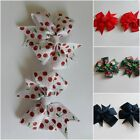 Girl Hair Clip 3.5 inch grosgrain bow with red cherries/  black hot pink flowers
