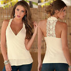 Sexy New Women's casual V-neck lace print backless lady tops vest blouse t shirt