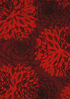 Red Contemporary Machine Made Buds Leaves Petals Area Rug Floral 550-37335