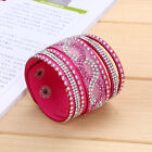 Multilayer Women Crystal Leather Bracelet Cuff Bangle Charm Jrewelry 10 Colors