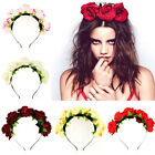 Handmade Floral Crown Rose Flower Headband Hair Garland Wedding Headpiece ZO