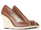 Michael Kors Olivia Cut Out Leather Wedge Shoes in Luggage Brand New With Box