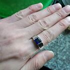 Men Solitaire Engagement Band 4ct Sapphire Cz 925 silver Wedding Ring Size 8-13