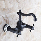 Dual Knobs Swivel Spout Bathroom  Kitchen Sink Faucet Mixer Tap Wall Mounted