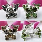 Silver Plated Crystal Butterfly Cocktail Party Finger Ring Charm Women Jewelry