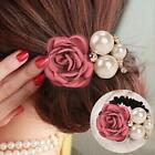 Ladies Pearls Beads Rose Flower Hair Band Rope Scrunchie Ponytail Holder Gift