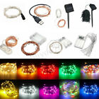 1/2/3/4/5/10M LED Silver/Copper Wire Fairy String Light Battery Wedding Party