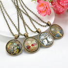 Fashion Punk Steampunk Gears Clock Watch-Face Glass Vintage Tree of Life Pendant