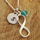 925 Sterling Silver Personalised Infinity Love Lariat Pendant Necklace & Initial