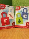 (2) 6x6 inch Christmas Non Woven Mini Tote Gifts Favor Party Bags