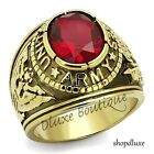 Men's 14k Gold Plated Siam Red United States US Army Military Ring Size 8-14