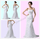 New Long Lace Bridesmaid Formal Evening Party Prom Gown Dress Size 6-16