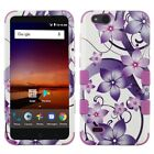 Cute Purple Hibiscus Flower Hybrid Shell Durable Hard Phone Case Protector Cover