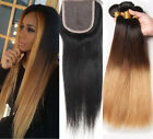 3 Bundles Brazilian Straight Human Hair ombre Weft & 1pc Straight Lace Closure