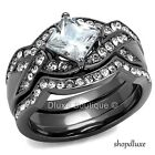 2.50 CT PRINCESS CUT CZ BLACK STAINLESS STEEL WEDDING RING SET WOMEN'S SIZE 5-10