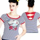 Hell Bunny Marella Striped Top Retro Pin Up Rockabilly Tattoo Nautical