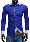 2016 Men's Luxury Stylish Slim Body Fit Long Sleeve Dress Casual Shirts for Work