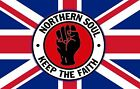 NORTHERN SOUL KEEP THE FAITH LARGE KEYRING 50x35mm DOUBLE SIDED