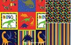 DINOSAUR FABRIC BEDROCK BY KANVAS COORDINATING FABRIC BRIGHT PRIMARY 100% COTTON