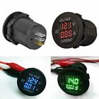 2in1 Car Motorcycle LED Digital Voltmeter Ammeter Voltage Meter DC 12V-24V Round