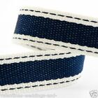 Full Roll 10m Sadle Stitch Cotton Twill Ribbon - Navy Blue - Crafts - Sewing