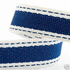 Full Roll 10m Sadle Stitch Cotton Twill Ribbon - Royal Blue - Crafts - Sewing