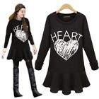 Black Crew Neck White Heart Pleated Flouncing Hem Women's Top Micro Mini Dress