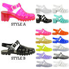 LADIES WOMENS GIRLS RETRO JELLY SANDALS 90'S BUCKLE BEACH FLIP FLOPS SHOES SIZE