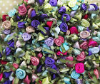 Satin Ribbon Roses with dainty green leaves - Mixed Colours Pack of 20/30/50/100