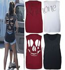 New Ladies Women Laser Cut Out Skull Open Back Vest Top Sleeveless Baggy T Shirt