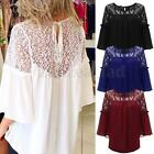 Sexy Women Casual Lace Chiffon 3/4 Sleeve T Shirt Tee Plus Size Loose Top Blouse