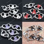 5x Crystal Enamel Heart Hollow Ribbon Connector Charms Bead Finding For Bracelet