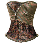 New Brocade Brown Striped Steampunk Burlesque Costumes Overbust Corset Top FK8