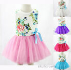 Baby Kids Girls Dress Toddler Princess Party Tutu Summer Floral Dress Cute 2-6Y