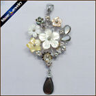 Natural Mother of Pearl Shell Carving Flower Gemstone Pendant Necklace Long S085
