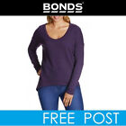 BONDS Womens Sloppy Long Sleeve Drop Back Hem Top Jumper Sweater Pullover Purple