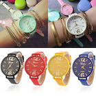 Charm Men Women Geneva Fashion Leather Analog Stainless Steel Quartz Wrist Watch