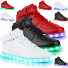 LED Men Women High Light Up Trainers Basket Lace Up Flat Shoes Luminous Casual