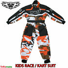 WULFSPORT KIDS CUB KARTSUIT BLACK ORANGE CAMO 1PC OVERALL TRACK RIDER TOUGH