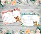 BABY SHOWER FORECAST/PREDICTION CARDS - Choose from Boy or Girl - Teddy Bear