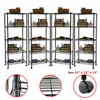1/2/3/4 PCS 5 Tier Layer Steel Wire Metal Shelf Adjustable Shelving Rack Black