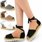 Womens Ladies Flat Lace Up Sandals Espadrilles Summer Chunky Holiday Shoes Size