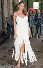 Kate Moss Topshop New Fringe White Crepe Long Gown Party Formal Dress UK 14 Rare