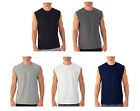 Mens Sleeveless Muscle Tee Cotton Solid Blank Tank T Shirt Hot Summer Gym Top image